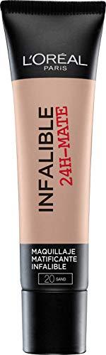 L Oréal Paris 24H Mate, Base Maquillaje Matificante Larga Duración Tono de Piel Medio 20 Sable - 35 ml