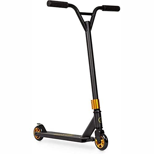Patear scooter scooter stunt scooter ciudad de la ciudad, ruedas de PU de 100 mm ABEC 7 rodamientos de bolas 360 ° y-manillar Paso Freno 100 Kg MAX PALO PALO ANTERIOR SUPERFICIE ( Color : Gold )