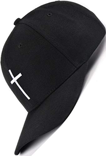 Bexxwell Baseball Cap schwarz mit Kreuz-Stickerei (optimale Passform, Kappe, Black, Baseballcap, Cross, Basecap,Unisex)