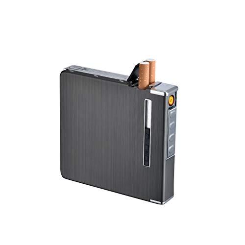 Kooshy Elektrisches Feuerzeug Zigarettenetui mit Feuerzeug, 2 in1 tragbares wiederaufladbares flammenloses winddichtes Feuerzeug Kapazität 20 Stück Zigaretten (93 × 98 × 15,8 mm)