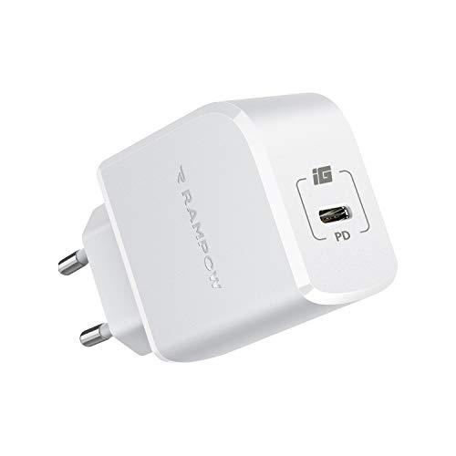 RAMPOW Cargador USB C, 20W Carga Rápida con Power Delivery 3.0 y QC 3.0 Cargador Móvil Rápido para iPhone 12 12 Pro 12 Mini 11 11 Pro XS XS MAX X XR, Samsung S10 S9, Huawei, Xiaomi y más
