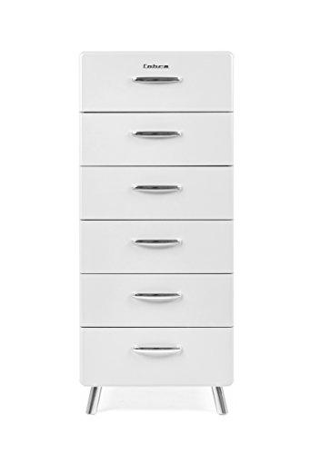 Tenzo COBRA Designer Chiffonnier 6 tiroirs, Acier, Blanc, 56x43x130 cm