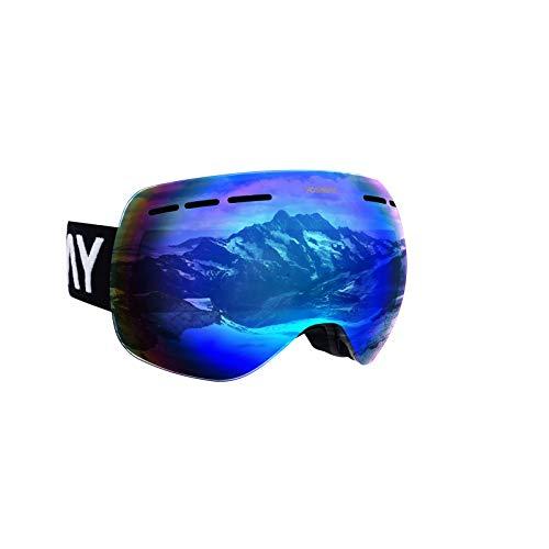 Possbay Skibrille Snowboard Brille OTG UV-Schutz mit Rahmen Schneebrille für Damen & Herren beschlagfreie für Brillenträger und Helmkompatible Blau