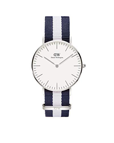 Daniel Wellington Classic Glasgow, Reloj Azul-Blanco/Plateado, 36mm, NATO, para Mujer y Hombre
