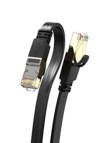 HASA zone - Cavo Ethernet Cat 8 40Gbps 2000MHz, Cavo di Rete Alta Velocità con Spina RJ45 per Router, PC, Smart TV, Console, hub, Laptop, Piatto Nero 3M