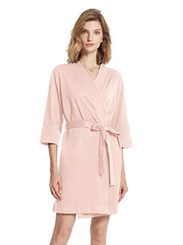 SIORO Albornoz de algodón para mujer, bata tipo kimono de punto, para mujer, talla S-XXXL