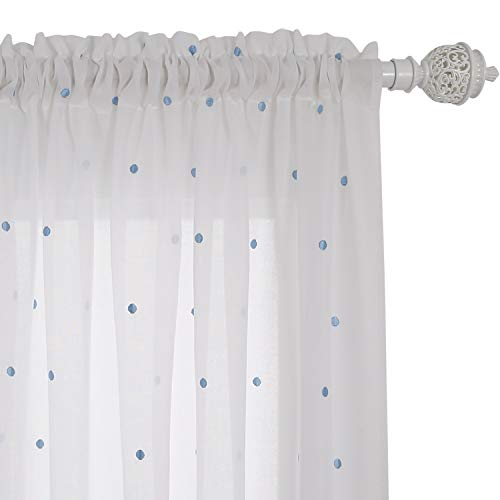 Deconovo Embroidered Blue Dot Faux India Cotton Kids Rod Pocket Sheer Curtain Voile Panels for Living Room, 52x63 Inch