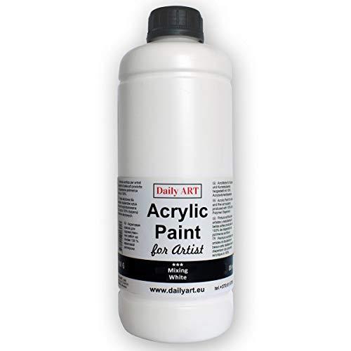 Daily ART Acrylfarbe Mischen Weiße Flasche 1000 ml für Künstler und Studenten Profis und Anfänger - Ideal für Leinwand Holz und Papier