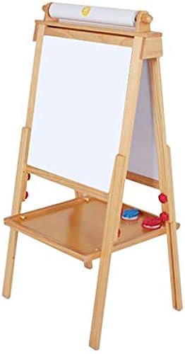 Xing Hua home Kinder-Massivholz Zeichenbrett doppelseitige Staffelei kann angehoben und abgesenkt Werden magnetische Tafel Halterung Falten (Farbe   Wood Farbe, Größe   62  60cm)
