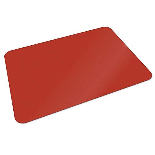 Set Scrivania Abbinato - Tappeto Salvapavimento e Sottomano - Proteggi Tavolo, Parquet e Pavimenti Duri, 100% PP in Vari Colori e Misure - 1 Sottosedia da 90x120 cm + 1 Sottomano da 50x65 cm - Rosso