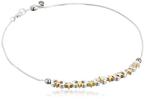 Alex and Ani Women's Moon and Star Anklet, Shiny Silver, Adjustable