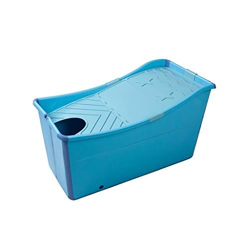 Draagbare badkuip voor volwassenen, kunststof, blauw, opvouwbaar, zelfdragend, badkuip, inklapbaar, badkuip, met lange houder, voor zwembad, voor kinderen, niet opblaasbaar, met deksel Blue-lid