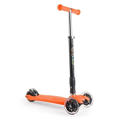 WFSH Scooter Infantil 2-13 años de Edad para niños Cuatro Ruedas Destellos de un Solo botón Scooter Plegable (Color : Orange)