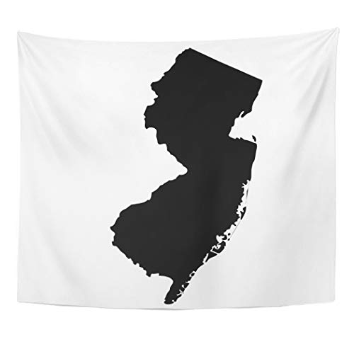Tinmun Tapestry American Map of The U State New Jersey Abstract Wall Hanging for Living Room Bedroom Dorm 60x80 inches