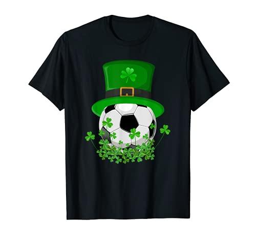 Shamrock Fútbol con sombrero de Leprechaun Regalo del Día de San Patricio Camiseta
