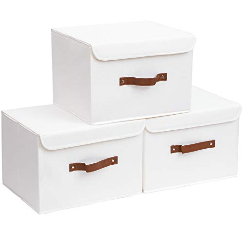 Yawinhe 3 PCS Cajas de almacenaje, Cajas de Almacenaje con Tapa, Cajas de Almacenamiento Plegables, Organizador para Juguetes, Libros, Ropa (Blanco, 45x30x30cm)
