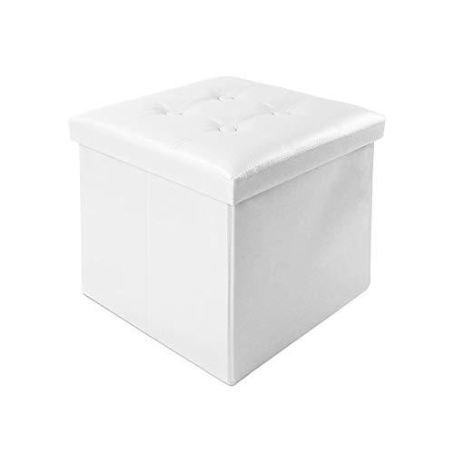 Todeco - Banc Pliant, Ottoman avec Espace de Stockage - Charge maximale: 150 kg - Matériau: Simili-cuir - Finition piquée et capitonnée, 38 x 38 x 38 cm, Blanc
