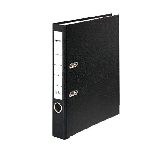 Amazon Basics – Aktenordner, Polypropylen-Kaschierung, Einschubfach am Rücken, A4, Rücken 50mm breit, 10Stück, Schwarz
