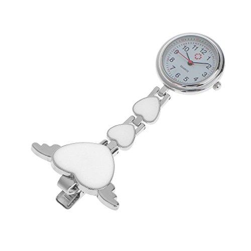 Sharplace Corazón Doctores Enfermera Cuarzo Túnica Bolsillo Clip-on Colgante Broche Reloj Fob - Blanco