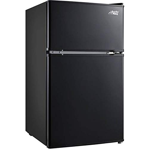 Arctic King 3.2 Cu Ft Two Door Mini Fridge with Freezer, Black + a Dozen of Cleaning Clothes with Clear Storage by Fat House Distributors