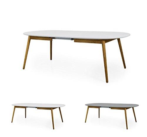 Tenzo 1686-001 DOT Designer Table de salle à manger ovale avec une allonge, blanc/Chêne, Plateau panneaux MDF ép. 25 mm laqués. Pieds massif huilé, 75 x 180-230 x 105 cm (HxLxP)