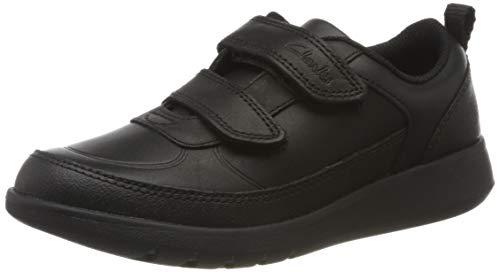 Clarks Scape Flare K, Zapatillas, Negro (Black Leather Black Leather), 32.5 EU