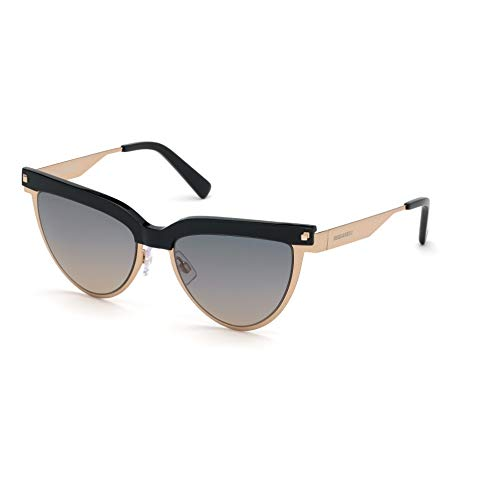 DSQUARED2 DQ0302/S 28B 53-18-135 - Gafas de sol para mujer, color oro rosa brillante, lentes de humo degradado
