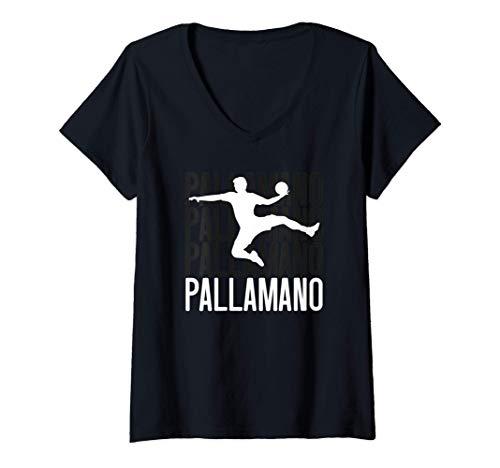 Donna Pallone da pallamano Idea regalo giocatore pallamano Sport Maglietta con Collo a V