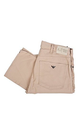 Armani - Pantalones vaqueros gabardina para hombre, color beige, corte recto, caqui, 30 Beige marrón 32W x 34L