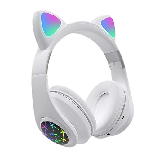 MagiDeal Auriculares Portátiles con Forma de Oreja de Gato Y Sonido Estéreo con Enchufe de 3,5 Mm para Mujeres iOS - Blanco