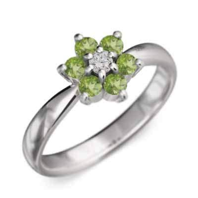 [スカイベル] ペリドット 18金ホワイトゴールド 指輪 Flower フラワー レディース リングサイズ 28号