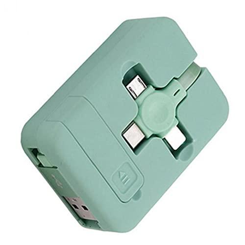 Multi cable cargador 3in1Universal Uso de carga retráctil multifuncional USB Tipo C Micro USB con cuerda de carga del soporte del teléfono verde