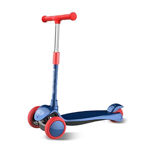 Dongxiao Patear Scooter para Niños 3 Ruedas Scooter Ajustable Alturas PU Luz para Arriba Ruedas de La Rueda Trasera Freno para Niños Niñas ( Color : Blue )
