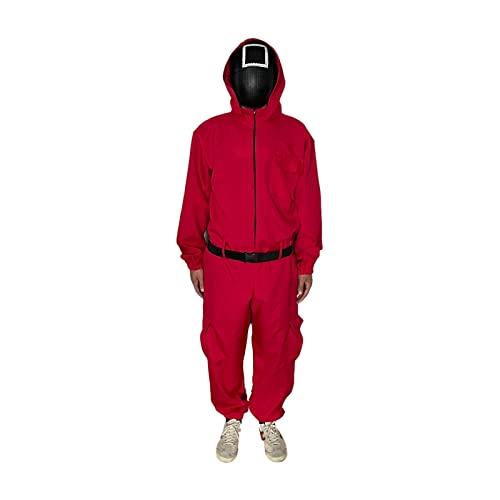 LifBetter Juego de calamar Cosplay disfraz de soldado mscara villano rojo mono cosplay traje Halloween fiesta ronda seis mscara mediano