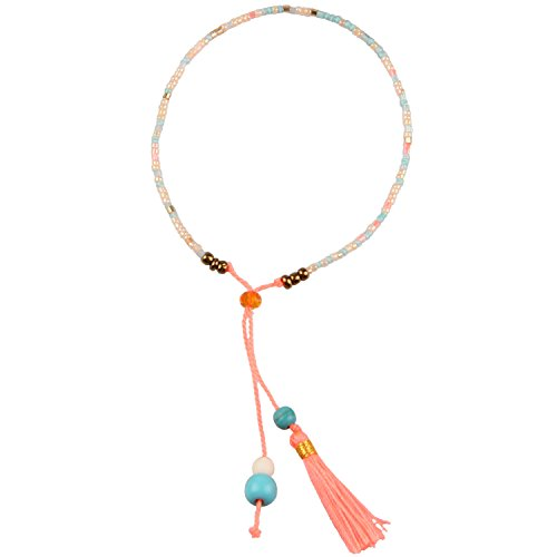 KELITCH Handmade Armband Kristall Perlen Schnur Freundschaftsarmbänder mit farbig Quaste Anhänger - #05
