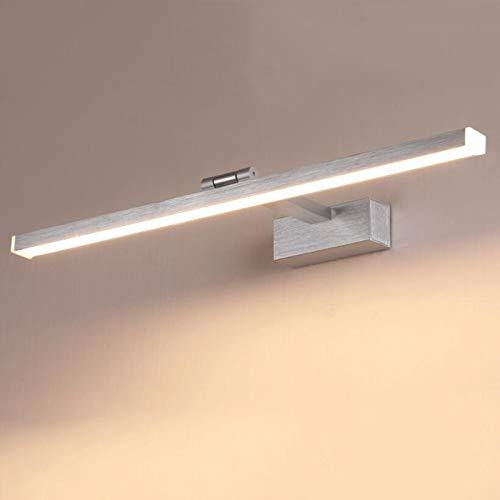 Luz de tocador LED moderna, 12W Iluminación de maquillaje Neutral Tres colores ajustables Espejo negro Iluminación frontal Iluminación de baño Luz de gabinete(Energy Class A),Plata,100cm39.4inch20W