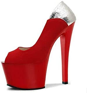 BEESCLOVER Heel high Heels, Thin and 17cm Color Single Shoes, Fish Mouth Hate Day high Club Suede Shallow Mouth, Dancing Shoes