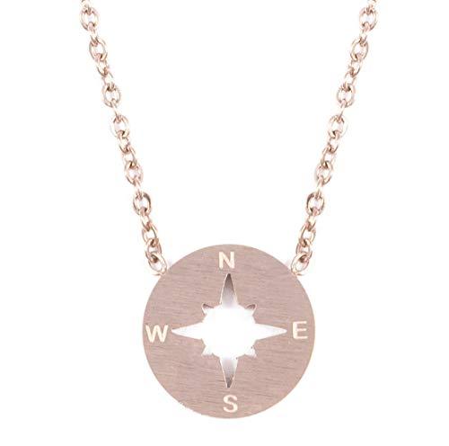 Happiness Boutique Damen Kompass Kette in Rosegold | Kette mit Kompass Anhänger Minimalist Schmuck aus Edelstahl