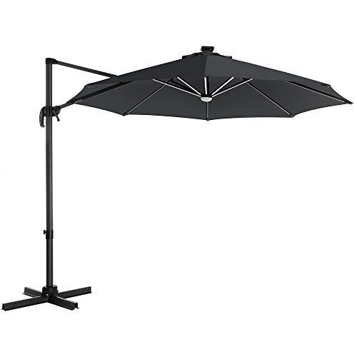 SONGMICS Sonnenschirm mit LED-Beleuchtung, Ampelschirm Ø 300 cm, Gartenschirm, UV-Schutz bis UPF 50+, um 360° drehbar, Neigungswinkel verstellbar, mit Kurbel und Ständer, grau GPU038G01