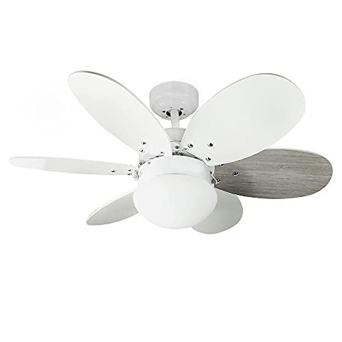 Wonderlamp - Ventilador de techo con luz Tauro, Palas reversibles, 1xE27, Máx. 60W, 3 velocidades, Verano/Invierno, Blanco o Gris