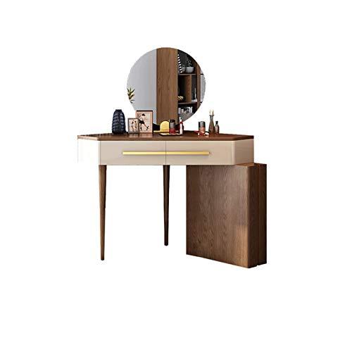 QWERTY Conjunto de Mesa con cajones Conjuntos de Taburete Cajones deslizantes Maquillaje de Mesa para Dormitorio Tocador de Muebles Modernos (Color : Walnut Color+Mirror)