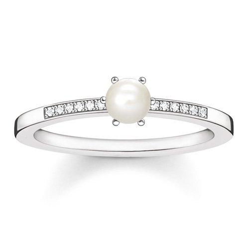 Thomas Sabo Damen-Ring Glam & Soul 925 Silber Diamant (0.05 ct) weiß Perle Gr. 52 (16.6 MM) - D_TR0011-765-14-52