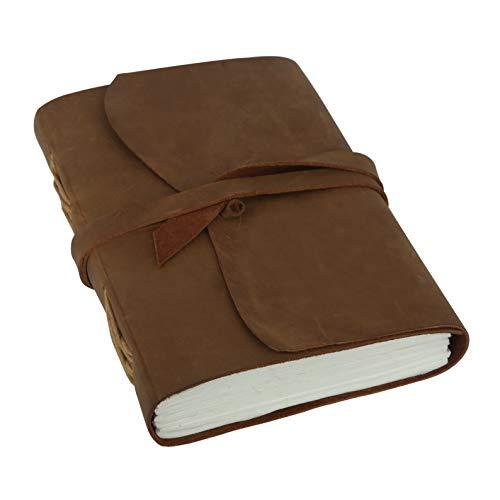 Vintage Papel Hecho a Mano Escritura Personal Cuero Diario Viajes Cuaderno de Bocetos Cuaderno Diario Para Hombres y Mujeres, Papel en Blanco Unline (Light Brown Two)