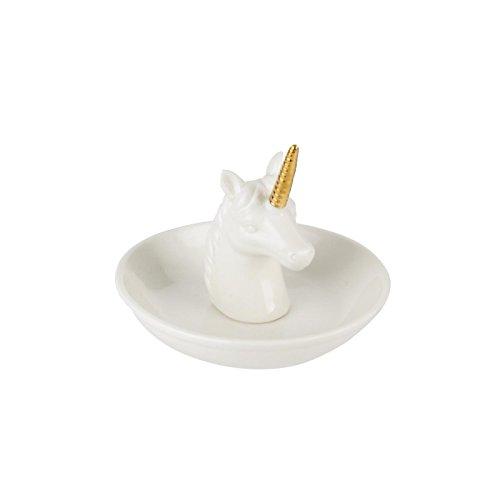 AC-D co Porte Bijoux Licorne - 10 x 10 x 8,2 cm - C ramique - Blanc