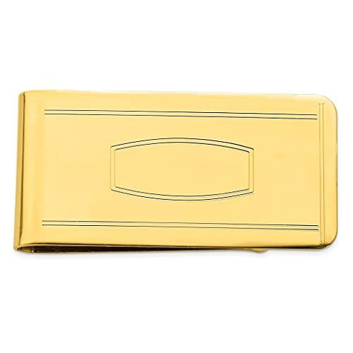 Chapado en oro de 14 quilates pulido sólido grabable con área grabable clip de dinero joyería regalos para hombres