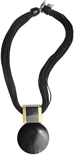 Whimsical Mystique - Handmade natural black organic Buffalo horn double convex disc pendant with extra bold square bail & Black Multi-stranded Waxed Cotton cord Necklace for girls & women