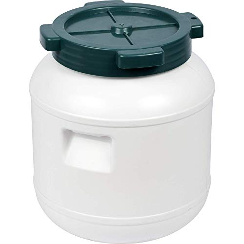Browin 360010 Plastikfass zum Gären, Aufbewahren, weiß, 10 L mit Schraubverschluss, Kohl, Gurken, Gemüse in Salzlake, Plastik, White