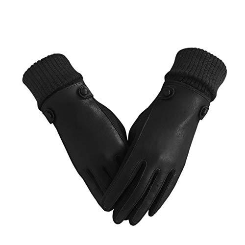 Dam vinterhandskar, bilhandskar pekskärm-förbutik, foder violi, PU ytskikt pasta, varm kall (färg: svart)