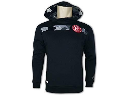uhlsport Fortuna Düsseldorf Hoodie schwarz F95 Fan Kapuzensweatshirt Pullover, Größe:XXL