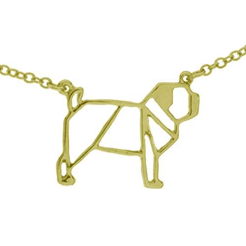 pretty_awesome Kette Mops Pug Puglove Blogger Origami Geometrie Statementkette, Farbe: Gold, mit Schmuckbeutel